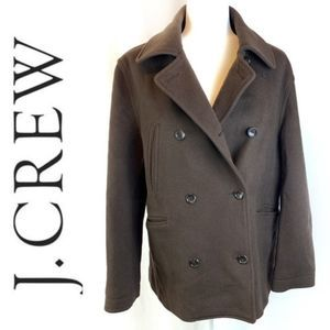 J. Crew Cashmere/Wool/Nylon Brown Pea Coat Sz M